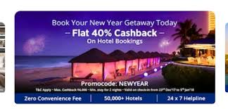 book new year getaway today get 40 cashback upto 4000 on hotels