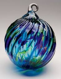 mt st helens volcanic ash blown glass ornament blue