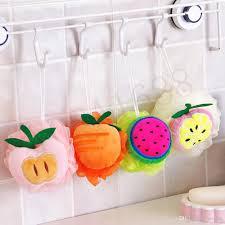 2017 1x color fruit shape bath ball bathroom bath sponge rubbing