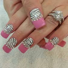 best gel nail designs pink black pink zebra nail bling nails