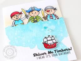 sunny studio pirate pals boy themed birthday card with nancy