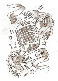 old mic tattoo outline pictures to pin on pinterest