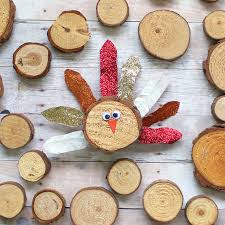 the craft patch wood slice turkey craft with washi feathers