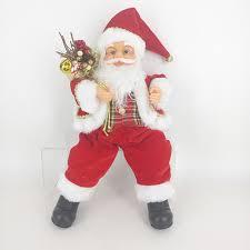 decorations fabric santa doll white