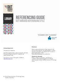 Harvard Style Essay Format Referencing Guide Dut Harvard Referencing Style 2016 Citation