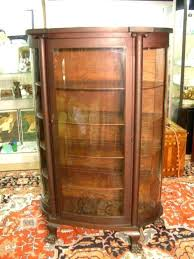 antique curio cabinet with curved glass antique oak china cabinet curio cupboard curved glass empire feet