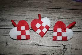 red swedish felt woven heart christmas ornament danish