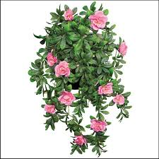 artificial plants 22 hanging basket with 5 artificial azalea plants 3 colors