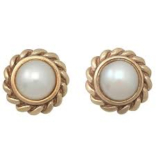 gold stud earrings uk pearl and 9k yellow gold stud earrings vintage circa 1990 at 1stdibs