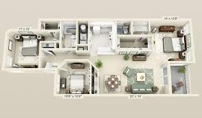 Apartment Delightful 3d Apartment Floor Plans 3 Bedroom Engaging
