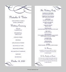 wedding program outline template wedding program template tea length calligraphic flourish