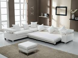 Steel Living Room Furniture 3 White Leather Sectional Sofa With Stainless Steel Legs And