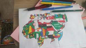 Africa Middle East Map by My Hand Drawn Map Flag Of Mediterranean Middle East And North