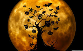 the halloween tree background halloween owls and bats orange hd desktop wallpaper widescreen