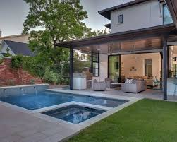 Covered Patio Ideas For Backyard by Contemporary Backyard Open Patio Small Pool Valle Pinterest