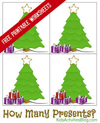 learning to count with printable christmas math worksheets