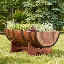 reclaimed half barrel planter wine enthusiast