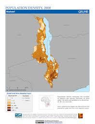 Malawi Map Maps Population Density Grid V1 Sedac