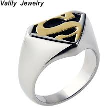Superman Wedding Ring by Valily Jewelry Gold Color Men Ring Fashion Cool Punk Motor Biker