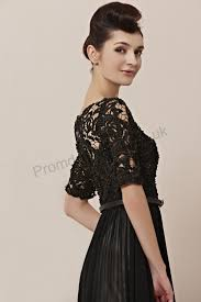black dress uk prom dresses uk black neck lace sleeves chiffon