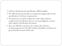 report requirements template contents of the srs report software requirements specification