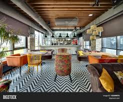 Mexican Kitchen Curtains by Room In A Loft Style In A Mexican Restaurant With Open Kitchen On
