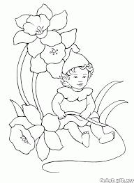 coloring page baby elf