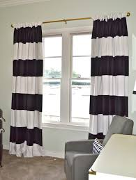 Long White Curtains Black And White Curtain In Vertical Striped Pattern Style Design