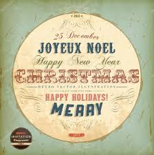 joyeux noel christmas cards vintage circle christmas card with ribbons and grunge background