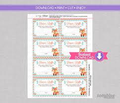 fox diaper raffle tickets coral mint chevron baby shower