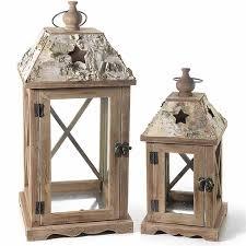 porta candele set di 2 lanterne porta candela in legno di betulla marrone traforate