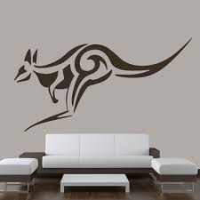 tribal animal wall stickers iconwallstickers co uk tribal kangaroo jumping decorative wild animals wall stickers home art decals