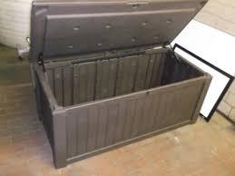 deck storage box keter glenwood plastic deck storage box 101 gal