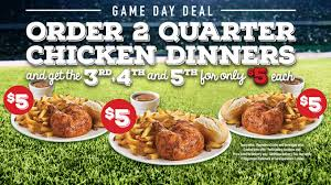buy 2 quarter chicken dinners and get up to 3 more for 5 each at