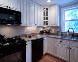 kitchen appliances white granite backsplash tile modern wood