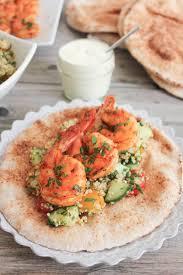 smoky paprika smoky paprika shrimp with quinoa tabbouleh and garlic yogurt sauce