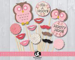 woodland owl printable photo booth props pink owl photo