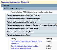 known issues managing a windows 10 group policy client in windows