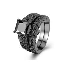 black cubic zirconia engagement rings zealmer 2 pcs black gold plated princess cut