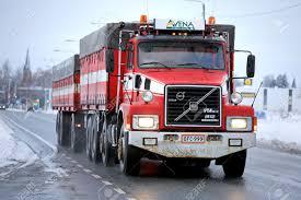volvo truck trailer forssa finland december 14 2014 volvo n12 full trailer truck
