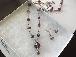 crystal necklace designs images Genuine plum crystal necklace earring set designs by cms jpg