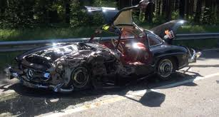 mercedes 300sl replica mercedes 300 sl gets destroyed by bmw 1 series at mille