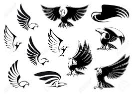 eagle silhouettes showing flying and standing birds with