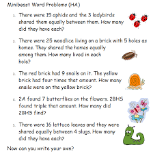 word problems year 2 minibeast theme these are a collection of