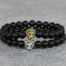 silver bracelet with black stones images Antique gold and silver buddha leon lion head bracelet of amulet jpg