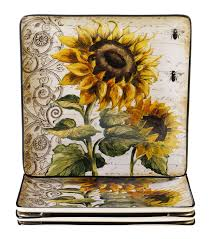 book plates dishes certified international sunflowers dinner