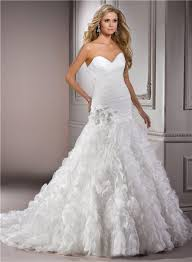 ball gown sweetheart ruched organza ruffle wedding dress with crystal