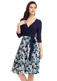 model dress navy leaf print surplice skater dress lookbook store