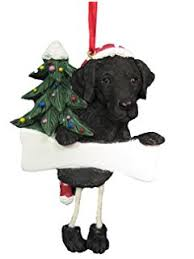 personalized black lab and bone ornament