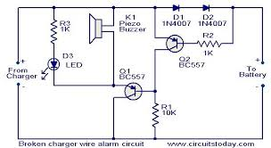 broken charger wire alarm circuit electronic circuits and